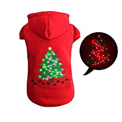 Light Up Dog Christmas Sweater. LED Dog Christmas sweater