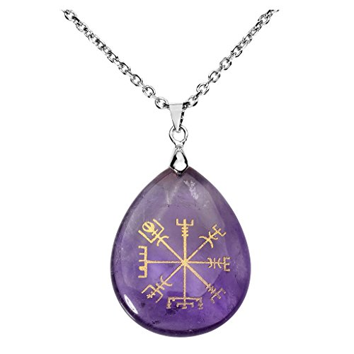Jovivi Silver Plated Viking Compass Vegvisir Amethyst Crystal Necklace Teardrop Healing Stone Gemstone Chakra Pendant with 24' Necklace