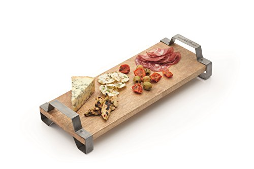 KitchenCraft Industrial Kitchen Raised Wooden Tray / Serving Board with Iron Handles, 40 x 15 cm...