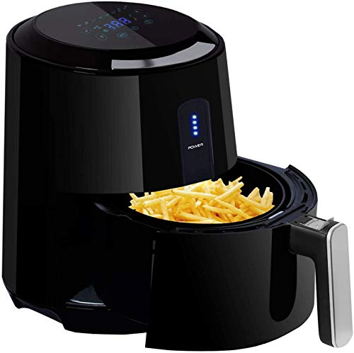 Posame Air Fryer 1400-Watt 3 Quarts Programmable Electric Hot Air Fryers with 8 Cook Presets,LCD Touch Screen, Family Size,Black