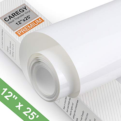 CAREGY HTV 12' x 25ft Roll - Iron On Heat Transfer Vinyl (White)