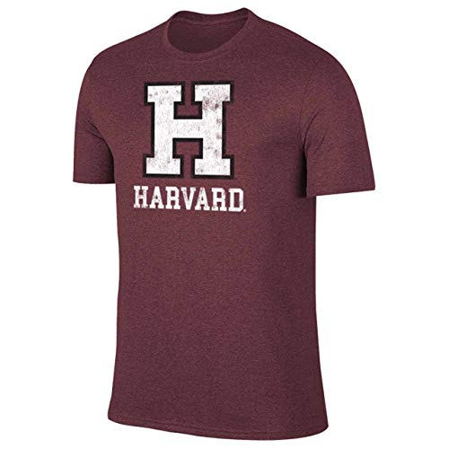 Campus Colors NCAA Adult MVP Heathered Logo Tshirt (Harvard Crimson - Maroon, Medium)