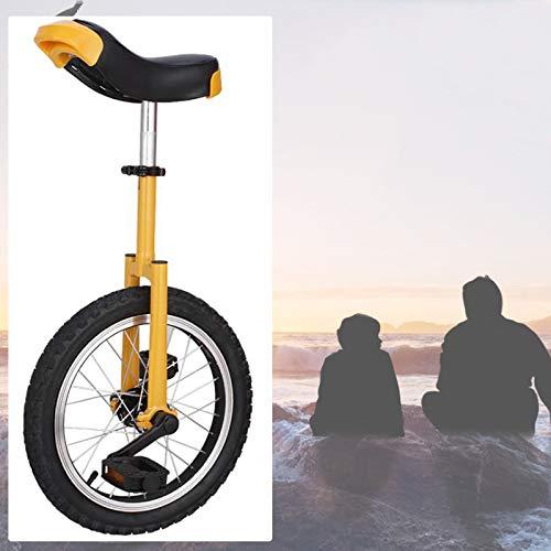 GAOYUY Einrad, Bequem Und Einfach Zu Handhaben Freestyle Einrad 16/18/20 Zoll for Anfänger Kinder Erwachsene Spaß Im Freien (Color : Yellow, Size : 18 inches)