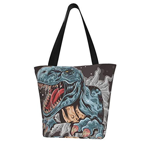 Tote Bag Dinosaur T-Rex Vector Kitchen Bolsas de supermercado reutilizables Bolsa de compras de lona para exteriores 11X13 pulgadas