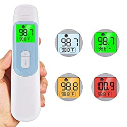 Forehead & Ear Thermometer for Fever, Non Contact Digital Infrared Thermometer with Fever Alarm and Memory Function for Baby Kids and Adults