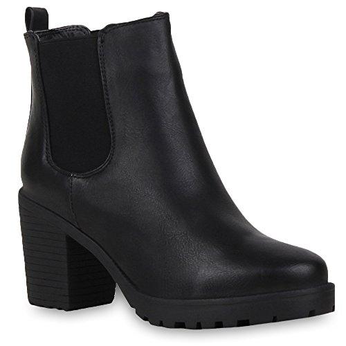 Booties Damen Stiefeletten Plateau Chelsea Boots Plateau Blockabsatz Leder-Optik Glitzer Schuhe 57790 Schwarz Avelar 39 Flandell