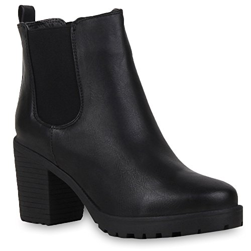 Booties Damen Stiefeletten Plateau Chelsea Boots Plateau Blockabsatz Leder-Optik Glitzer Schuhe 57790 Schwarz Avelar 37 Flandell