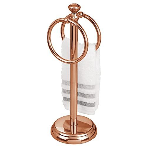 mDesign Piccolo portasciugamani da appoggio perfetto come portasalviette bagno degli ospiti – Appendi asciugamani per il lavello con due anelli – Piccolo porta asciugamani in metallo – oro rosato
