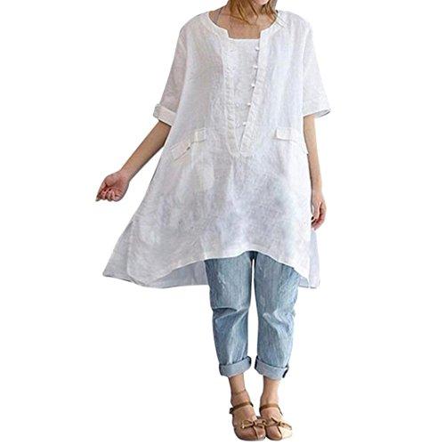 Vectry Damska koszulka z krótkim rękawem i tunika, duży rozmiar, nieregularny lniany