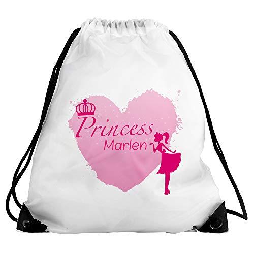 Eurofoto Turnbeutel mit Namen Marlen und Prinzessin-Motiv - Princess Marlen - für Mädchen | Sport-Beutel für Kinder | Gymbag