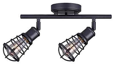 CANARM LTD IT611A02GPH Otto 2 Light Track Rail Graphite with Metal Cage Shades