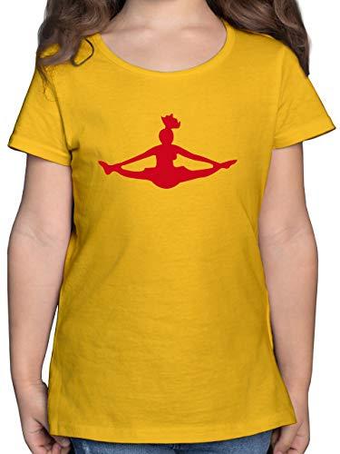 Sport Kind - Cheerleading - 116 (5/6 Jahre) - Gelb - Tshirt schwarz 122 - F131K - Mädchen Kinder T-Shirt