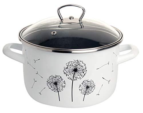 Kochtopf Pusteblume | Ø 20 cm | mit Glasdeckel | 4 Liter | weiß mit schwarzem Design | für alle Herdarten + Induktion | Qualitäts-Email auf 1mm Stahl | stapelbar | Suppentopf | Gemüsetopf (20cm)