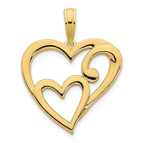 Collar con colgante de corazón de oro de 14 quilates para mujer