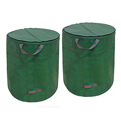 Faraone4w 272L Garden Waste Bags - Garden Bin With Lid, Reusable, Foldable, Washable, Collapsible Self Standing, Green Garden Waste Bags Heavy Duty With Handles