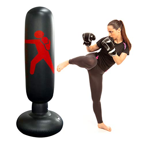 Knowooh Boxsack, Standboxsack Aufblasbare Boxsäule für Kinder und Erwachsene ab 6 Jahren zum Üben von Karate, Taekwondo, MMA(schwarz)