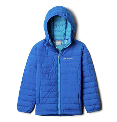 Columbia Boys Powder Lite Boys Hooded Jacket, Super Blue ,Large, Big Boys