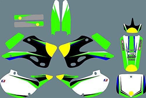 DST0674 Custom Kawasaki Motorcycle Decal Kit Motorcross Graphics Dirt Bike Sticker for Kawasaki KX125 KX250 1999 2000 2001 2002 3M Adhesive Decals