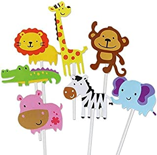 Animal set 21 pieces 3 Sets Cute Zoo Animal Birthday Cake Topper DecorationCake Flags Baby Shower Birthday Party Decoratio...