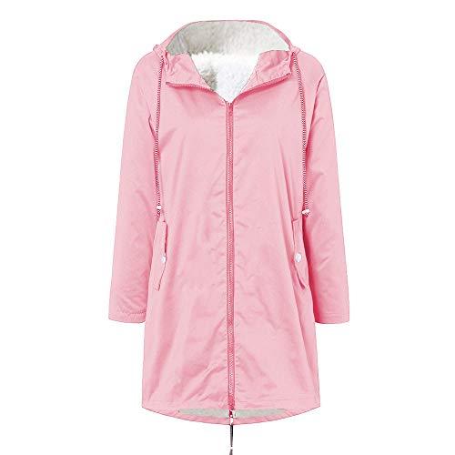 MINIKIMI regenjas dames grote maten winterjas met capuchon wintermantel gevoerd outdoor waterdicht windproof lichte jas outwear