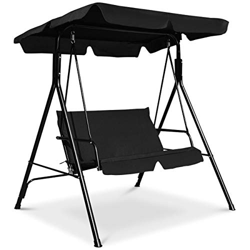 Tangkula 2-Person Patio Swing, Outdoor Yard Swing with Canopy & Cushion, Weather Resistant Steel Lounge Swing Chair for Porch, Backyard, Garden, Balcony (Black)