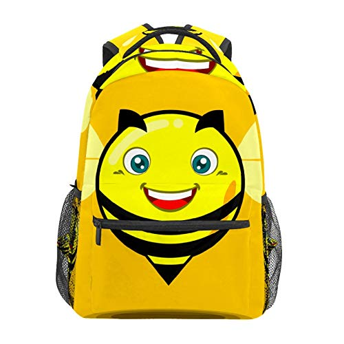 School Backpack Happy Chubby Yellow Bee Casual Travel Laptop Daypack Canvas Book Bags for Woman Girls Boys Student Adult Men
