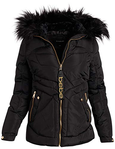 bebe Women's Heavyweight Bubble Ski Jacket with Fur Hood (Black/Black Fur, Large)''
