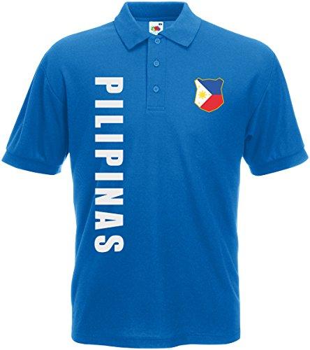 Philippinen Pilipinas Polo-Shirt Trikot Wunschname Wunschnummer (Royalblau, XL)