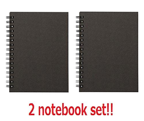 [2 Satz !!!] Muji Recyclingpapier doppelter Ring Notizbuch Notebook A6 Schwarz insgesamt 160 Seiten von Japan