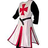 Tanwenling33 Disfraz de Guerrero Templario Disfraz de Cruzado Medieval para Hombre Disfraz de Caballero Templario Halloween Retro Cosplay Renacimiento Túnica Abrigo