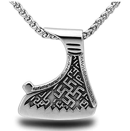 GJPSXTY Nordic Viking Axt Keltische Knoten Wolf Symbol Anhänger Halskette, Hochhärte Edelstahl Metall Talisman, Männer Ideales Amulett Geschenk, 50 60 70 cm 50 cm 1