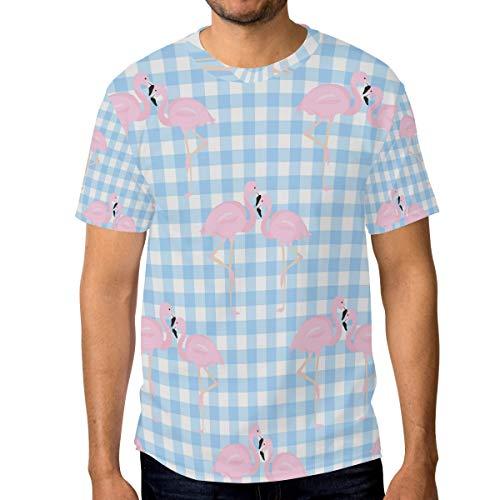 Herren-T-Shirt, blaues Patch mit pinkem Flamingo, Rundhalsausschnitt, kurzärmelig Gr. XL, multi