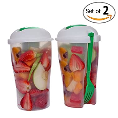 Fresh Salad Container Serving Cup Shaker with Dressing Container Fork Food Storage Bonus Recipes, Use This Bowl for Picnic, Lunch to Go, Made with High Quality Plastic Bottle - Eat Healthy -(Set of 2)