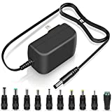 PERFEIDY UL Listed 12V 2A 1.5A 1A AC Adapter 24W Switching DC Power Supply 10 Interchangeable Jacks Universal Adaptor 12Volt 1.8A 1.2A 0.5A 800mA 500mA Charger Regulated Transformer Plug 6.5FT Cord