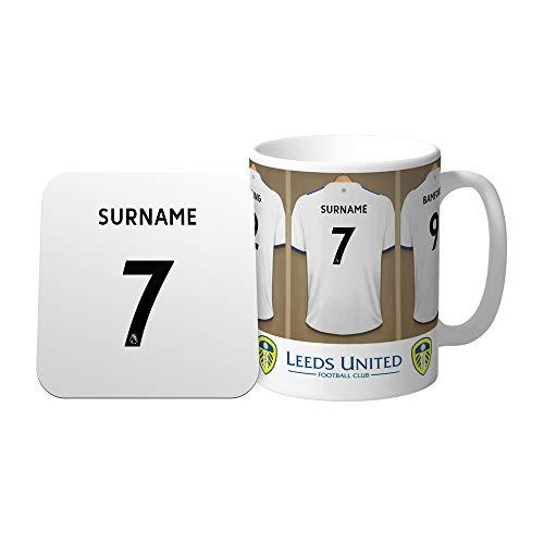 Official Personalised Leeds United FC Dressing Room Mug & Coaster Set