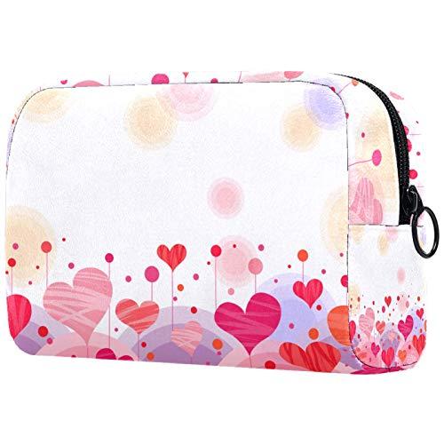 KAMEARI Bolsa de cosméticos Rosa Amor Formas Patrón Grande Cosmético Bolsa Organizador Multifuncional Bolsas de Viaje