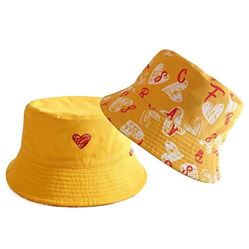 CACUSS Unisex Sombrero Pescador Reversible Cubo Gorra 100% Algodón Anti-UV Sol Bucket Hat Patrón de Amor Plegable Cubeta Gorra Moda para Viaje Actividades Aire Libre Senderismo Camping Playa