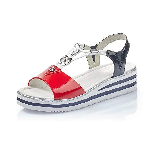 Rieker Mujer Sandalias de Vestir V02Y6, señora Sandalias de cuña,Zapatos del Verano,cómodo,Plana,Rosso,39 EU / 6 UK