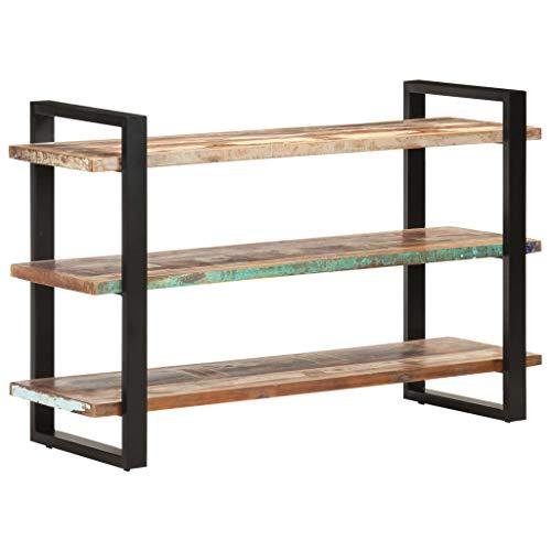 Anrichte Sideboard Mehrzweckschrank Highboard Schubladenkommode Flurschrank, für Diele, Wohnzimmer Esszimmer Diele, mit 3 Regalböden 120x40x75 cm Recyceltes Massivholz