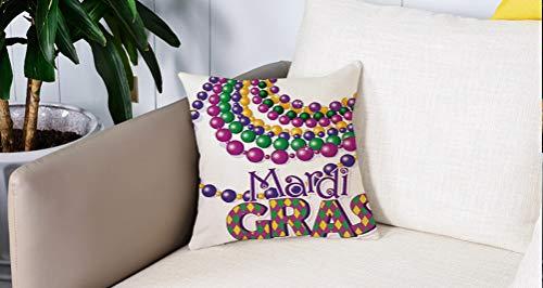 Pillow Case Cojín Cuadrado Print,Mardi Gras, collares de abalorios de colores con...