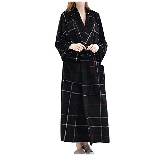 WoWer Nachthemd Bademantel Winter Flanell Robe Damen Langarm Bademantel Gestreiftes quadratisches Muster