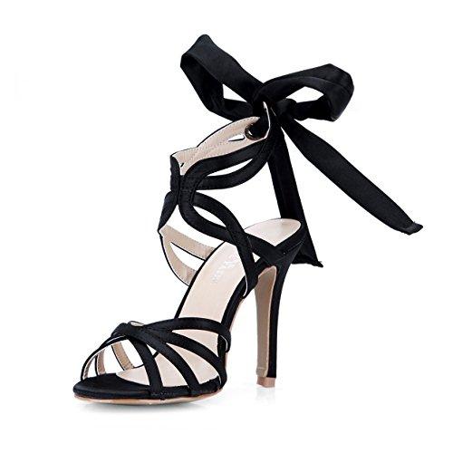 Nieuwe Vrouwelijke sandalen elegantie lint mooie show met een fijne hoge hak schoenen zwarte avondjurk
