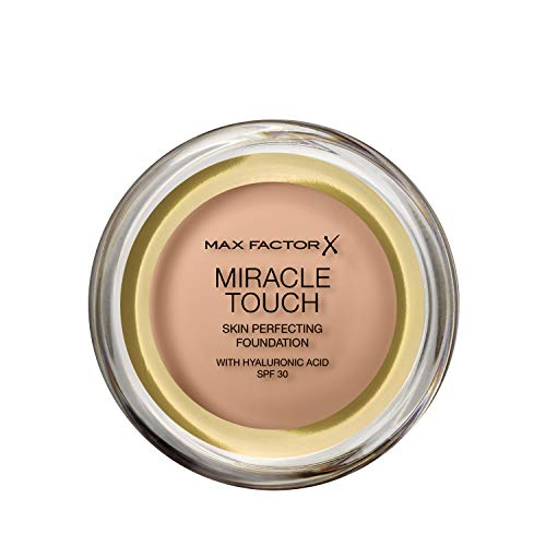 Max Factor Miracle Touch Foundation in der Farbe 75 Golden – Intensives, pudriges Make-up für ein makelloses Hautbild – Mit Lichtschutzfaktor 30