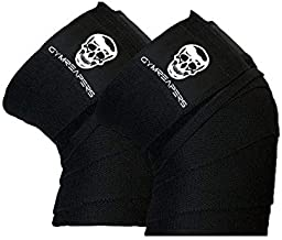 Knee Wraps (Pair) With Strap for Squats, Weightlifting, Powerlifting, Leg Press, and Cross Training - Flexible 72 inch Kne...