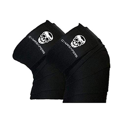 Knee Wraps (Pair) With Strap for Squats, Weightlifting, Powerlifting, Leg Press, and Cross Training - Flexible 72' Gymreapers Knee Wraps for Squatting - For Men & Women - 1 Year Warranty (Black)