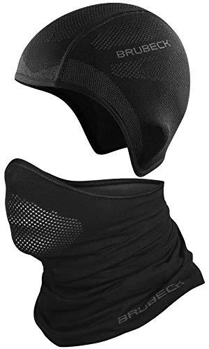 BRUBECK Set Funktionsmütze + Halbe Sturmhaube Herren | Gesichtsmaske atmungsaktiv | Helmmütze Fahrrad | Balaclava Motorcycle Black | Laufen | Gr. L - XL | Schwarz | HM10020A + X-PRO