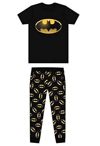 Undercover Lingerie Ltd -  Pigiama Due Pezzi - Uomo Batman Black/Yellow Bat Sign S