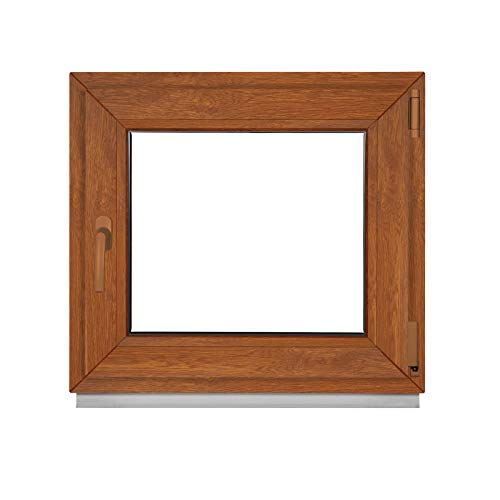 Fenster Golden Oak Außen/Innen - Alle Größen Kellerfenster Kunststoff BxH 500 x 500 mm - Garagenfenster Fenster PVC 50 x 50 cm 2-Fach Verglasung-Din Links-Dreh Kipp Kunststofffenster