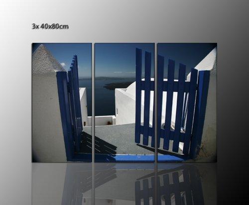 130x80 cm Brancard wandafbeeldingen (gate santorini greece 3x40x80 cm) Griekenland Santorini op echt canvas ingelijst - mediterrane flair boven uw dressoir - meerdelig - afbeeldingen klaar omlijst met spieraam enorm. Uitvoering kunstdruk op canvas. Voordelig incl. frame.