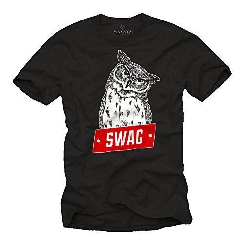 Tumblr Clothes Funshirt Herren - Swag T-Shirt mit Eule schwarz XXXXXL